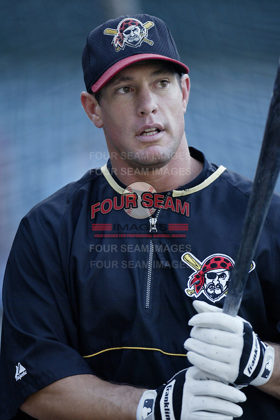 Brian Giles of the Pittsburgh Pirates before a 2002 MLB season game against the Los Angeles Angels at Angel Stadium, in Anaheim, California. (Larry Goren/Four Seam Images)