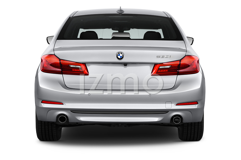 Straight rear view of a 2018 BMW 5 Series 530i 2WD 4 Door Sedan stock images