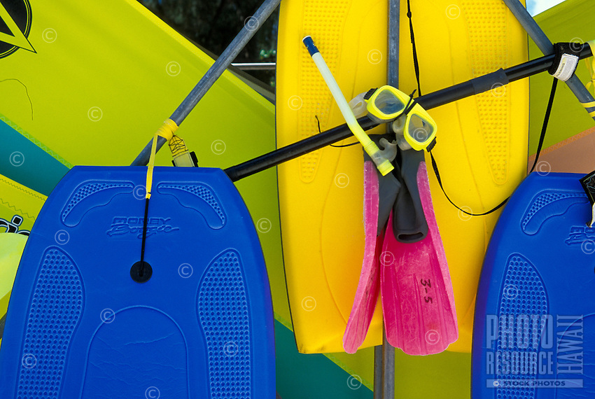 Bodyboards, snorkel sets and windsurfing boards are available for  rent to adventurous visitors to Hawaii.