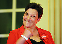 Pictured: Labour candidate for Gower constituency Tonia Antoniazzi celebrates her win as the results are announced.  Friday 09 June 2017<br />Re: Counting of ballots at Brangwyn Hall for the general election in Swansea, Wales, UK