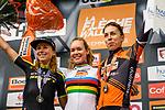World Champion Anna van der Breggen (NED) Boels Dolmans Cyclingteam wins her 5th consecutive edition atop Mur de Huy with Annemiek van Vleuten (NED) Mitchelton-Scott Women 2nd and Annika Langvad (DEN) Boels Dolmans Cyclingteam 3rd place at the end of La Fl&egrave;che Wallonne Femmes 2019, running 118.5km from Huy to Huy, Belgium. 24th April 2019.<br /> Picture: Thomas Van Bracht/PelotonPhotos | Cyclefile<br /> All photos usage must carry mandatory copyright credit (&copy; Cyclefile | Thomas Van Bracht/PelotonPhotos)