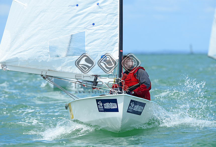 OK Dinghy / Mike Williams (AUS)<br /> 2013 ISAF Sailing World Cup - Melbourne<br /> Sail Melbourne - The Asia Pacific Regatta<br /> Sandringham Yacht Club, Victoria<br /> December 1st - 8th 2013<br /> &copy; Sport the library / Jeff Crow