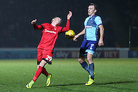 Myles Judd of Leyton Orient (29) and Garry Thompson of Wycombe Wanderers during the Sky Bet League 2 match between Wycombe Wanderers and Leyton Orient at Adams Park, High Wycombe, England on 17 December 2016. Photo by David Horn / PRiME Media Images.