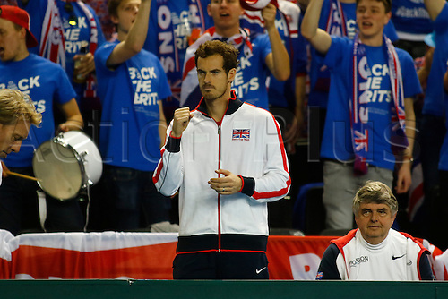 04.03.2016. Barclaycard Arena, Birmingham, England. Davis Cup Tennis World Group First Round. Great Britain versus Japan. Andy Murray looks on during Dan Evans'  singles match against Japan's Kei Nishikori on day 1 of the tie. Nishikori won in straight sets 6-3, 7-5, 7-6.