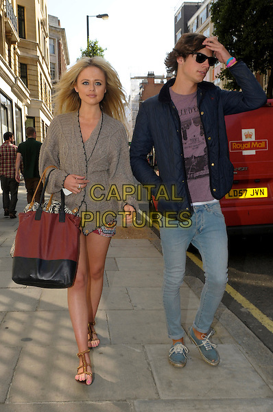 Emily Atack & friend.Spotted in central London, England..5th September 2012.full length sunglasses shades grey gray blazer black maroon burgundy bag purse jeans denim blue jacket cardigan purple top sandals .CAP/IA.©Ian Allis/Capital Pictures.