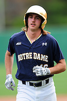 Notre Dame Fighting Irish first baseman Zak Kutsulis (16) during a game versus the Boston College Eagles at Pellagrini Diamond at Shea Field on May 15, 2015 in Chestnut Hill, Massachusetts.  (Ken Babbitt/Four Seam Images)