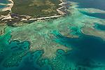 Aerial - Reefs near Nanuya Lailai island.