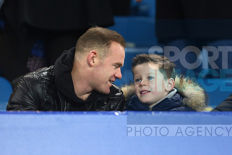 Wayne Rooney in the crowd with son Kai - Everton vs Crystal Palace - Barclays Premier League - Goodison Park - Liverpool - 07/12/2015 Pic Philip Oldham/SportImage