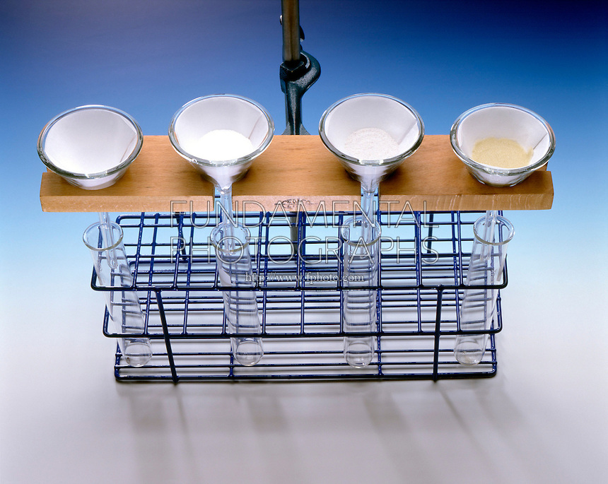 FILTRATION COMPARISON SET UP<br /> (Variations Available)<br /> Testing Substances to Remove Hard Water Ion<br /> Four funnels suspended over test tubes containing: Filter Paper alone as control, Sand, Calgon &amp; Ion-exchange Resin. The filtrates are tested with sodium carbonate (Na2CO3) &amp; liquid soap to determine which substance is most effective.
