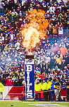 14 December 2014: Flames erupt as Buffalo Bills are introduced prior to a game against the Green Bay Packers at Ralph Wilson Stadium in Orchard Park, NY. The Bills defeated the Packers 21-13, snapping the Packers' 5-game winning streak and keeping the Bills' 2014 playoff hopes alive. Mandatory Credit: Ed Wolfstein Photo *** RAW (NEF) Image File Available ***