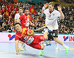 20.01.2013 Barcelona, Spain. IHF men's world championship, eighth.final. Picture show Vladimir Temelcov in action during game between Germany  vs FYRO Macedonia at Palau st Jordi