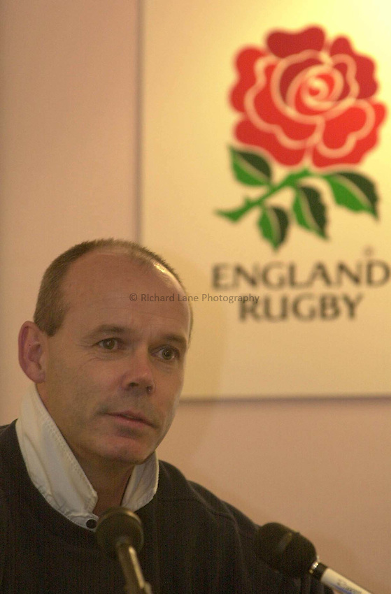 Picture : Greig Cowie.23/11/01.Clive Woodward Press Conference. Twickenham.Clive Woodward talks about Englands chances against the Springboks.