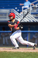 Batavia Muckdogs first baseman Eric Gutierrez (43) at bat during the first game of a doubleheader against the Auburn Doubledays on September 4, 2016 at Dwyer Stadium in Batavia, New York.  Batavia defeated Auburn 1-0 in a continuation of a game started on August 13. (Mike Janes/Four Seam Images)