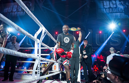 27.02.2016. Halle, Germany.  Ola Afolabi (Great Britain) geats into the ring ahead of the cruiserweight boxing match against Marco Huck (Germany) at the IBO World Championships in Halle, Germany, 27 February 2016. Marco Huck won in the 10th round.