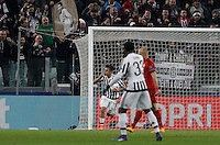 Calcio, andata degli ottavi di finale di Champions League: Juventus vs Bayern Monaco. Torino, Juventus Stadium, 23 febbraio 2016. <br /> Juventus&rsquo; Paulo Dybala, left, celebrates after scoring during the Champions League first leg round of 16 football match between Juventus and Bayern at Turin's Juventus Stadium, 23 February 2016.<br /> UPDATE IMAGES PRESS/Isabella Bonotto