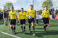 Boston, MA - Sunday May 07, 2017: Game officials for a regular season National Women's Soccer League (NWSL) match between the Boston Breakers and the North Carolina Courage at Jordan Field.