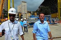 RIO DE JANEIRO, RJ, 28 AGOSTO 2012-O PREFEITO EDUARDO PAES VISITA OBRAS DO TUNEL BINARIO-O Prefeito do Rio de Janeiro, Eduardo Paes, visita nesta terca feira, 28 de agosto, as obras do Tunel Binario, integrante do projeto Porto Maravilha, na Praca Maua, centro do Rio de Janeiro.(FOTOMARCELO FONSECA BRAZIL PHOTO PRESS).