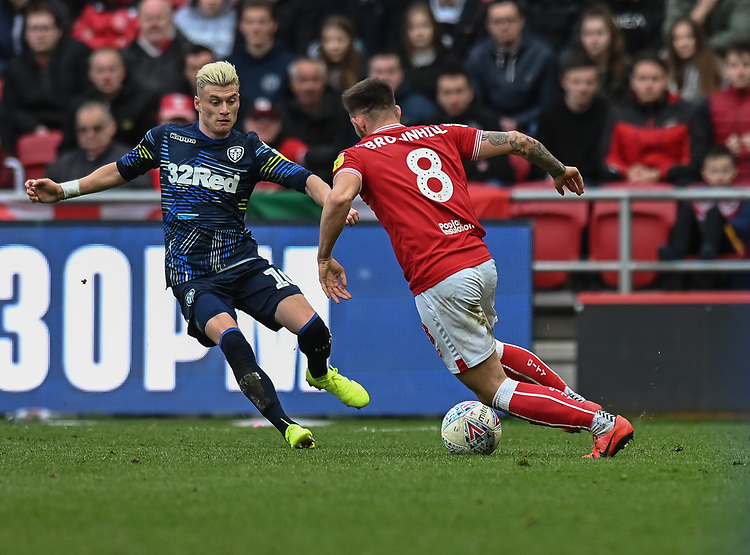 Bristol City's Josh Brownhill (right)  under pressure from Leeds United's Ezgjan Alioski (left) <br /> <br /> Photographer David Horton/CameraSport<br /> <br /> The EFL Sky Bet Championship - Bristol City v Leeds United - Saturday 9th March 2019 - Ashton Gate Stadium - Bristol<br /> <br /> World Copyright © 2019 CameraSport. All rights reserved. 43 Linden Ave. Countesthorpe. Leicester. England. LE8 5PG - Tel: +44 (0) 116 277 4147 - admin@camerasport.com - www.camerasport.com