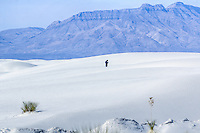 Waling in the dunes at White Sands National Monument in New Mexico.