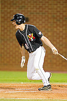 Brandon Diamond #13 of the VMI Keydets follows through on his swing against the High Point Panthers at Willard Stadium on March 31, 2012 in High Point, North Carolina.  The Panthers defeated the Keydets 2-0.  (Brian Westerholt/Four Seam Images)