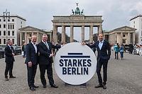 Praesentation der CDU-Kampagne fuer die Abgeordnetenhauswahl am 18. September 2016 in Berlin.<br /> Der CDU-Landesvorsitzende Frank Henkel stellte am Mittwoch den 6. April 2016 zusammen mit dem<br /> Wahlkampfleiter Kai Wegner und dem<br /> Kampagnenmanager Thomas Heilmann die Kampagne der Berliner CDU zur Abgeordnetenhauswahl vor. Konkrete Plakate mit Fotomotiven konnten nur eingeschraenkt gezeigt werden, da die CDU die Nutzungsrechte nicht erworben hat. So wurden den Journalisten nur Plakatideen und das Logo der Kampagne praesentiert.<br /> Im Bild: Kai Wegner, Frank Henkel und Thomas Heilmann posieren mit dem Wahlkampflogo vor dem Brandenburger Tor.<br /> 6.4.2016, Berlin<br /> Copyright: Christian-Ditsch.de<br /> [Inhaltsveraendernde Manipulation des Fotos nur nach ausdruecklicher Genehmigung des Fotografen. Vereinbarungen ueber Abtretung von Persoenlichkeitsrechten/Model Release der abgebildeten Person/Personen liegen nicht vor. NO MODEL RELEASE! Nur fuer Redaktionelle Zwecke. Don't publish without copyright Christian-Ditsch.de, Veroeffentlichung nur mit Fotografennennung, sowie gegen Honorar, MwSt. und Beleg. Konto: I N G - D i B a, IBAN DE58500105175400192269, BIC INGDDEFFXXX, Kontakt: post@christian-ditsch.de<br /> Bei der Bearbeitung der Dateiinformationen darf die Urheberkennzeichnung in den EXIF- und  IPTC-Daten nicht entfernt werden, diese sind in digitalen Medien nach §95c UrhG rechtlich geschuetzt. Der Urhebervermerk wird gemaess §13 UrhG verlangt.]