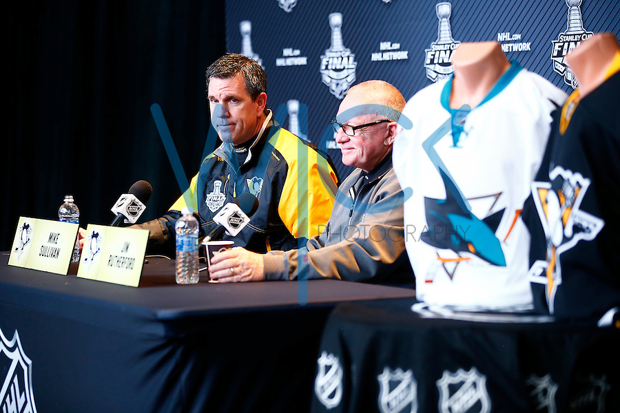 Head coach Mike Sullivan and GM Jim Rutherford speak during media day prior to the start of the Stanley Cup Final series between the Pittsburgh Penguins and the San Jose Sharks at Consol Energy Center in Pittsburgh, Pennslyvania on May 29, 2016. (Photo by Jared Wickerham / DKPS)