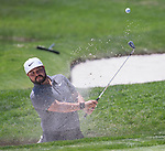 J.J. Spaun hits out of a bunker on the first hole during the Barracuda Championship at Montreux Golf Course on Sunday, August 5, 2018.