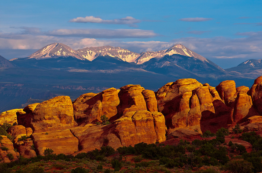 Arches National Park (La Sal Mountains in background), near Moab, Utah USA