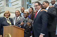(Washington, DC) May 5, 2011. District of Columbia Mayor Vincent C. Gray presented R&B/neo-soul singer Raheem DeVaughn with a ceremonial key to the city for his commitment to youth and HIV/AIDS awareness.  ....Mayor Gray chose to recognize DeVaughn because of the singer's concern for youth and HIV/AIDS awareness in addition to his immense popularity among young listeners, especially in the metropolitan Washington area. This day also marked the singers 36th birthday. (Photo credit must read Don Baxter/Media Images International)