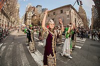 Traditional folk dancing in the 11th annual Persian Parade on Madison Ave. in New York on Sunday, April 13, 2014. The parade celebrates Nowruz, New Year in the Farsi language. The holiday symbolizes the purification of the soul and dates back to the pre-Islamic religion of Zoroastrianism. (© Richard B. Levine)