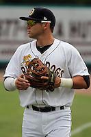 Charleston Riverdogs third baseman Dante Bichette, Jr. #19 before a game against the Delmarva Shorebirds at Joseph P. Riley Jr. Park on May 6, 2012 in Charleston, South Carolina. Charleston defeated Delmarva by the score of 8-2. (Robert Gurganus/Four Seam Images)