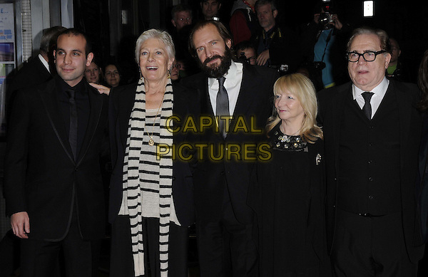 "Ilan Eshkeri, Vanessa Redgrave, Ralph Fiennes, Julia Taylor Stanley & Brian Cox .The ""Coriolanus"" UK premiere, LFF Day 5, Odeon West End cinema, Leicester Square, London, England..October 16th, 2011.half length black suit jacket white striped stripes beard facial hair glasses .CAP/CAN.©Can Nguyen/Capital Pictures."