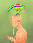 Illustrative image of man with beautiful scenery on head representing positive living