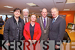 Cllr. Norma Foley, Cllr. Johnny Wall, Cllr Gillian Wharton Slattery, Mator of Kerry Seamus Cosai Fitzgerald and Mícheál Ó Muircheartaigh at the official opening of the Solas New Media Centre in Monavalley, Tralee on Monday afternoon.