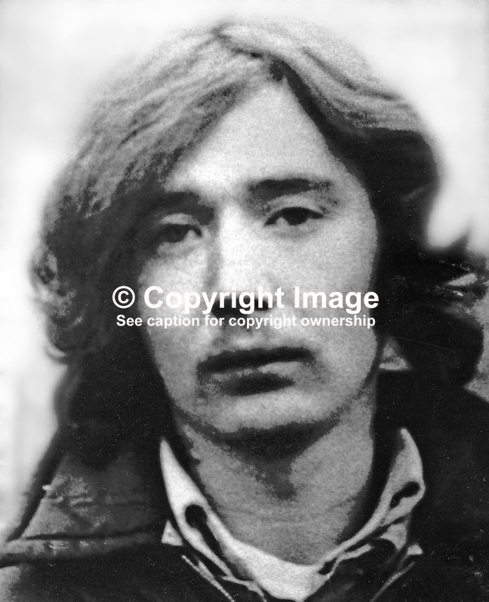 Gerard Majella Rice, 22 years, single, who briefly escaped from Long Kesh prison, N Ireland, on 24th November 1974. He was a Provisional IRA internee. In all 33 republicans were involved in the breakout. 197411060605GMR<br />