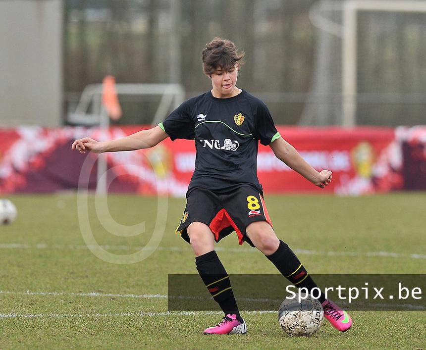 Denmark U17 - Belgium U17 : Isabelle Iliano.foto DAVID CATRY / Vrouwenteam.be