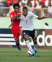 Stefan Jerome dribbles the ball. US Under-17 Men's National Team defeated United Arab Emirates 1-0 at Gateway International  Stadium in Ijebu-Ode, Nigeria on November 1, 2009.