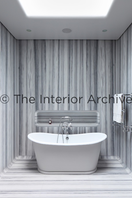The contemporary bathroom is lined in smooth grey and white marble