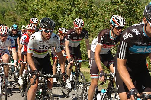 16.05.2012. Assisi, Italy.  Giro d'Italia, stage 11 Assisi to   Montecatini Terme, Team Sky 2012, Radioshack - Nissan 2012, Cavendish Mark, Schleck Frank