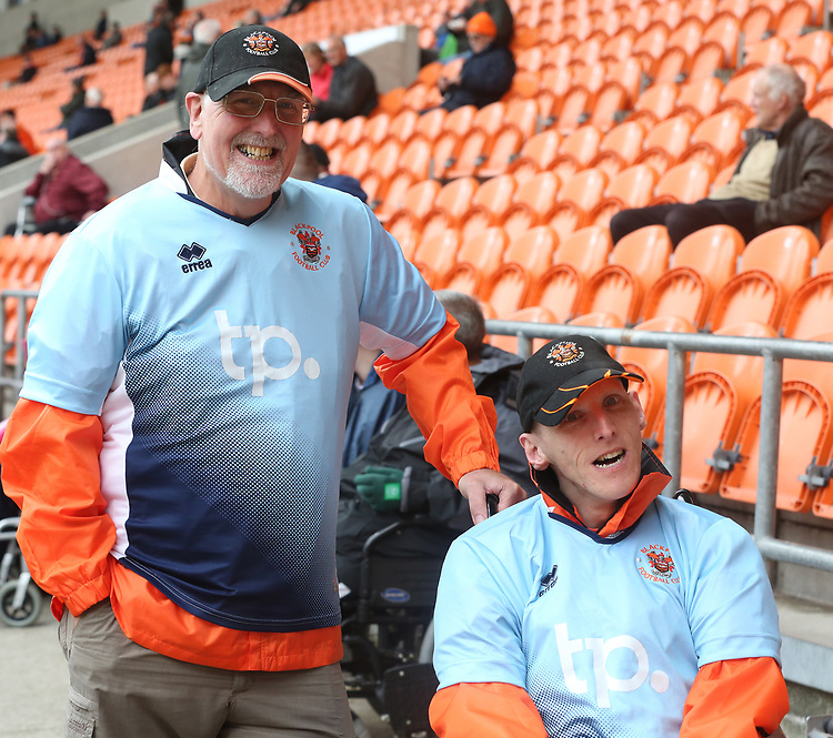 Blackpool fans <br /> <br /> Photographer Stephen White/CameraSport<br /> <br /> The EFL Sky Bet League One - Blackpool v Portsmouth - Saturday 31st August 2019 - Bloomfield Road - Blackpool<br /> <br /> World Copyright © 2019 CameraSport. All rights reserved. 43 Linden Ave. Countesthorpe. Leicester. England. LE8 5PG - Tel: +44 (0) 116 277 4147 - admin@camerasport.com - www.camerasport.com