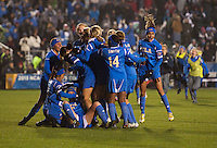 Ally Courtnall (42) of UCLA celebrates the win with teammates after the NCAA Women's College Cup finals at WakeMed Soccer Park in Cary, NC.  UCLA defeated Florida State, 1-0, in overtime.