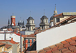 Rooftops of buildings from La Latina barrio, Madrid city centre, Spain