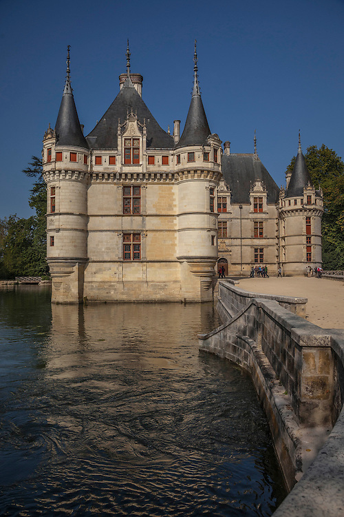 Seemingly floating on a river moat, the chateau is outlined in Gothic style, but the decorative work is in Italian Renaissance style.