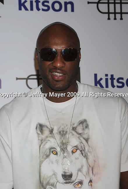 WEST HOLLYWOOD, CA. - October 21: Lamar Odom  arrives at the Lamar Odom launch of Rich Soil Fashion Line at Kitson L.A. on October 21, 2009 in West Hollywood, California.