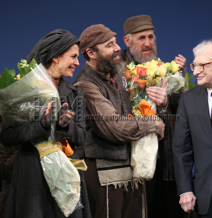 Jessica Hecht, Danny Burstein and Sheldon Harnick during the Broadway Opening Night Performance Curtain Call bows for 'Fiddler On The Roof'  at the Broadway Theatre on December 20, 2015 in New York City.