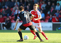 Fleetwood Town&rsquo;s Conor McAleny and Walsall's George Dobson <br /> <br /> Photographer Leila Coker/CameraSport<br /> <br /> The EFL Sky Bet League One - Fleetwood Town v Walsall - Saturday 5th May 2018 - Highbury Stadium - Fleetwood<br /> <br /> World Copyright &copy; 2018 CameraSport. All rights reserved. 43 Linden Ave. Countesthorpe. Leicester. England. LE8 5PG - Tel: +44 (0) 116 277 4147 - admin@camerasport.com - www.camerasport.com