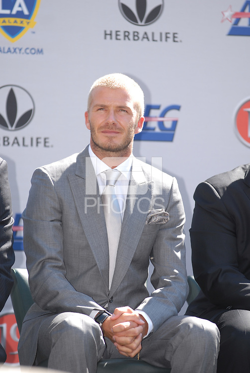 Soccer star David Beckham is introduced as the newest member of the Los Angeles Galaxy soccer team at the Home Depot Center in Carson, Calif., Friday, July 13, 2007.
