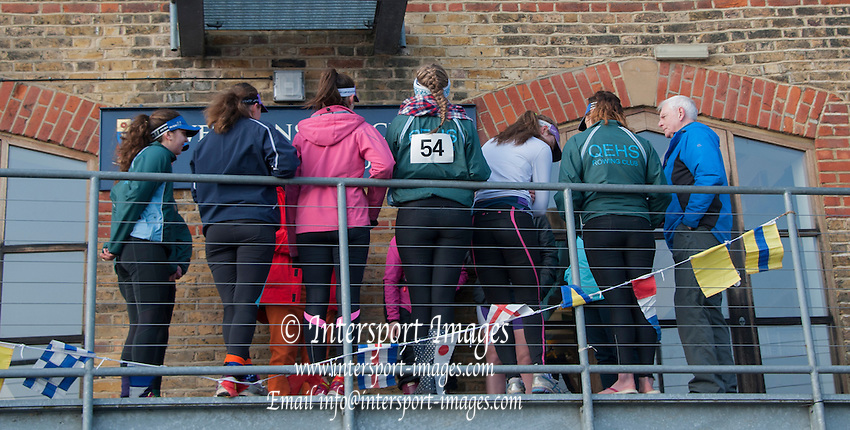 London, Great Britain.  General Views on Putney Hard. 2015 Women's Head of the River Race, Chiswick to Putney, Championship Course, River Thames.  England. <br /> Saturday  14/03/2015<br /> <br /> [Mandatory Credit; Intersport-images]
