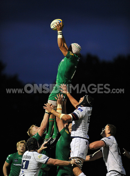 Blair Cowan wins lineout ball for London Irish. Pre-season friendly match, between London Irish and Bristol Rugby on August 22, 2014 at Hazelwood in Middlesex, England. Photo by: Patrick Khachfe / JMP