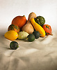 collection of pumpkins, squash and vegetables on a beige table cloth and white background